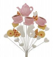 Afternoon tea 16th birthday cake topper decoration in pale pink and white - free postage